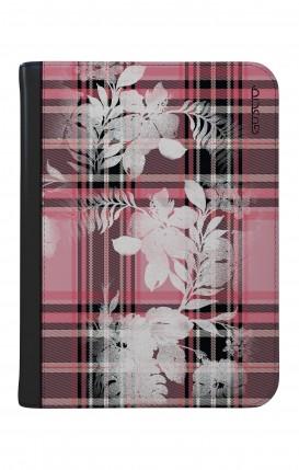 "Case UNV TABLET 9-10"" WHT/BLK - Flowers on pink tartan"