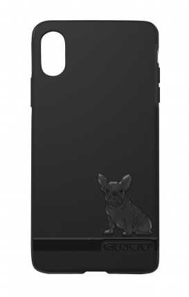 Cover Skin Feeling Apple iphone XS MAX BLK - Bulldog francese su logo