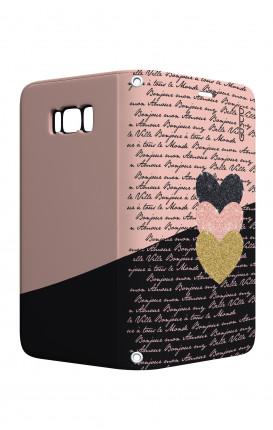 Cover STAND Samsung S8 Plus - Scritte e Cuori rosa nero