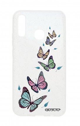 Cover Glitter Soft Huawei P20Lite - Transparent Butterfly & Leaves