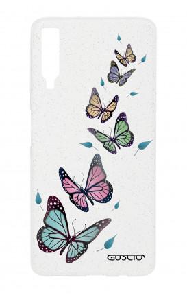 Cover Glitter Soft Samsung A7 2018 - Farfalle e foglie trasparente