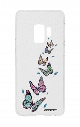 Cover Glitter Soft Samsung S9 - Farfalle e foglie trasparente