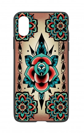 Cover Bicomponente Apple iPhone XS MAX - Old school tattoo rose