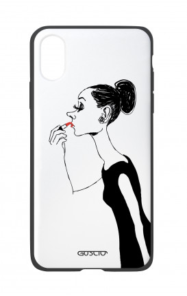 Apple iPhone X White Two-Component Cover - Lady with Lipstick