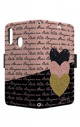 Cover STAND VStyle EARS Samsung A40 - Scritte e Cuori rosa nero