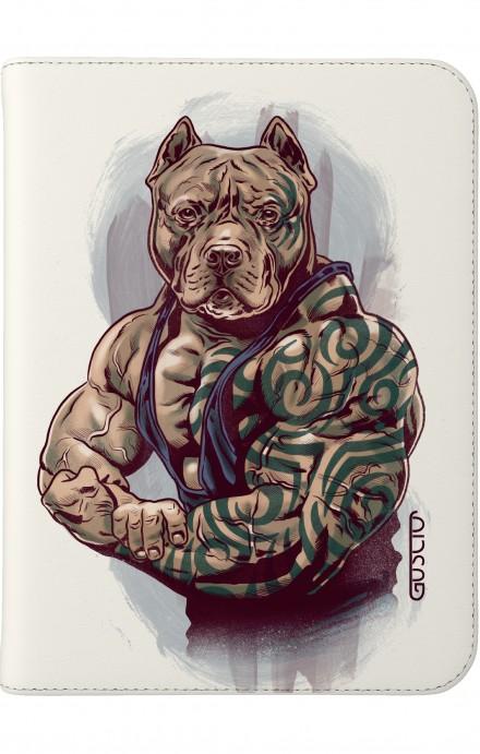 "Case UNV TABLET 7-8"" - White Pitbull tattoo"
