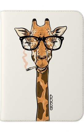 "Cover Universal Tablet Case per 7/8"" display - Giraffa con occhiali su bianco"