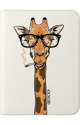 """Cover Universal Tablet Case per 7/8"""" display - Giraffa con occhiali su bianco"""
