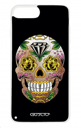 Cover GLITTER Liquid Apple iphone 7/8Plus GLD - BLACK Calavera Zoom