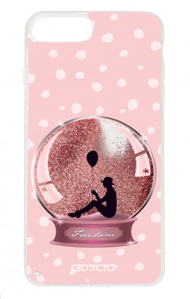 Cover GLITTER Liquid Apple iPhone 6/6s/7/8 Plus PINK - Sfera di neve glitter