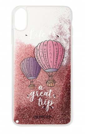 Cover GLITTER Liquid Apple iPhone XR PINK - Mongolfiere