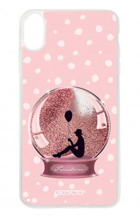 Cover GLITTER Liquid Apple iPhone XR PINK - Sfera di neve glitter