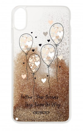Cover GLITTER Liquid Apple iphone XR GOLD - Balloons & Hearts