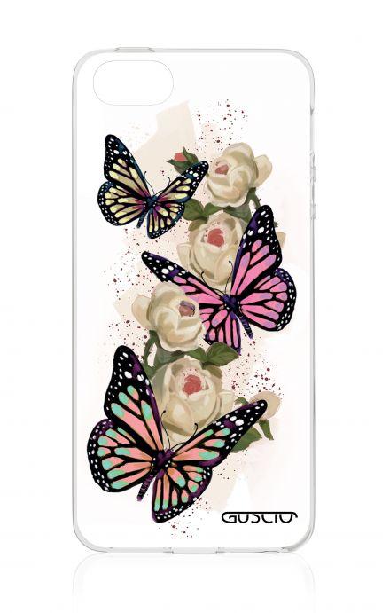 Cover Apple iPhone 5/5s/SE - Farfalle su bianco