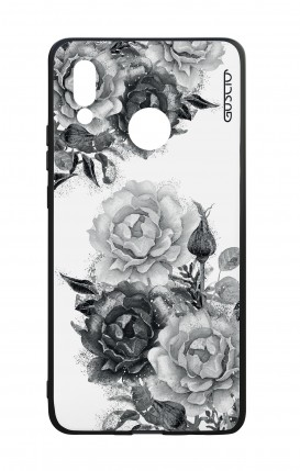 Huawei P20Lite WHT Two-Component Cover - Black and White Bouquet