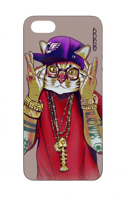 Apple iPhone 5 WHT Two-Component Cover - Hip Hop Cat