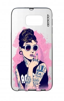 Cover Bicomponente Samsung S6 - Audrey tatuata bianco