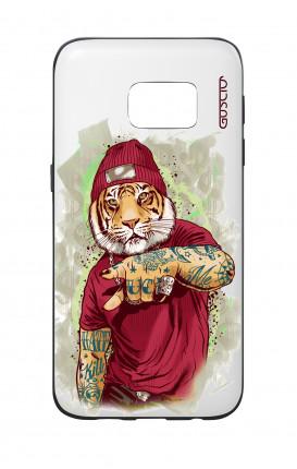 Cover Bicomponente Samsung S7  - Tigre Hip Hop bianco