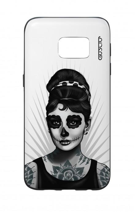 Cover Bicomponente Samsung S7  - Audrey Calavera bianco