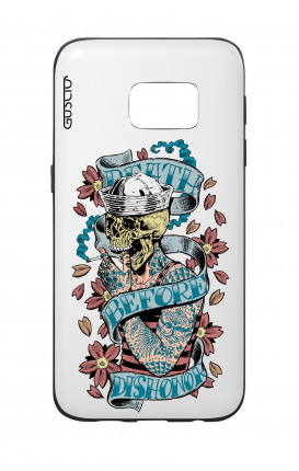 Cover Bicomponente Samsung S7  - Death before dishonor bianco