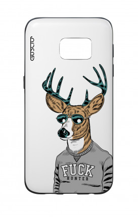 Cover Bicomponente Samsung S7  - Fuck Hunter bianco