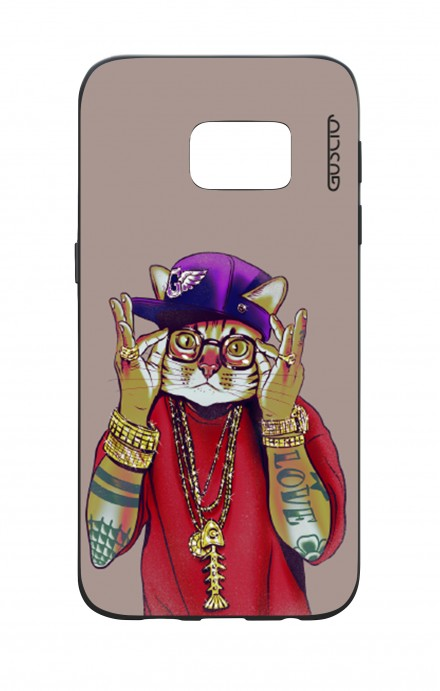 Samsung S7 WHT Two-Component Cover - Hip Hop Cat