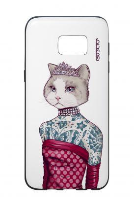 Cover Bicomponente Samsung S7 Edge  - Gattina principessa bianco