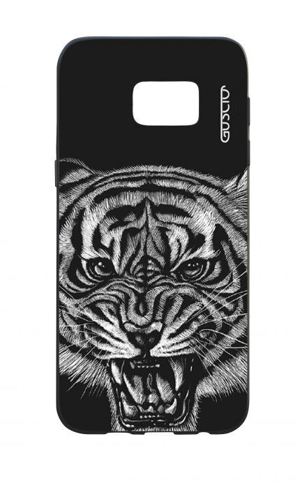 Samsung S7Edge WHT Two-Component Cover - Black Tiger