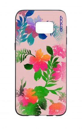 Cover Bicomponente Samsung S7 Edge - Fiori fondo rosa