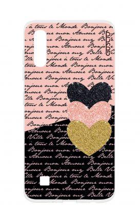 Cover TPU Sam A10 - Scritte e Cuori rosa nero