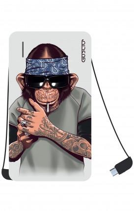 Power Bank 5000mAh iOs+Android - Chimp with bandana