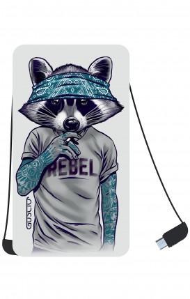 Power Bank 5000mAh iOs+Android - Raccoon with bandana