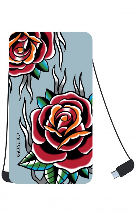 Power Bank 5000mAh iOs+Android - Rose Tattoo su azzurro