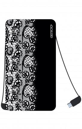 Power Bank 5000mAh iOs+Android - Pizzo bianco e nero