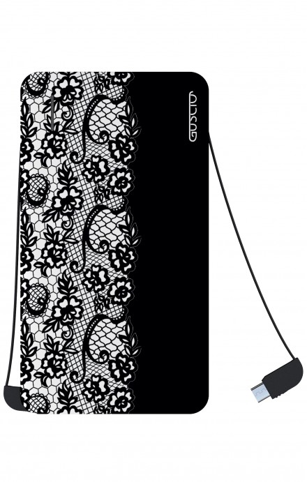 Power Bank 5000mAh iOs+Android - Pizzo bianco e nero