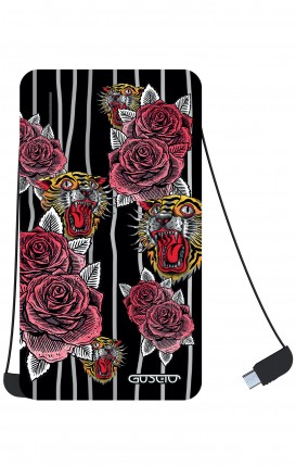 Power Bank 5000mAh iOs+Android - Roses and Tigers Tattoo