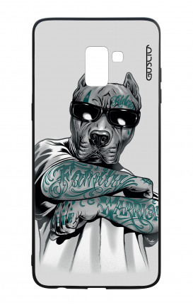 Samsung A8 2018 WHT Two-Component Cover - Tattooed Pitbull
