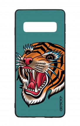 Samsung S10Plus WHT Two-Component Cover - Tiger Tattoo on teal