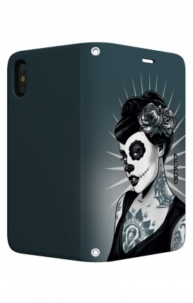 Cover STAND Apple iphone X/XS - Calavera bianco e nero