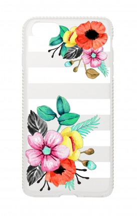 Cover Apple iPhone 7/8 Diamonds - Fiori e righe trasperente