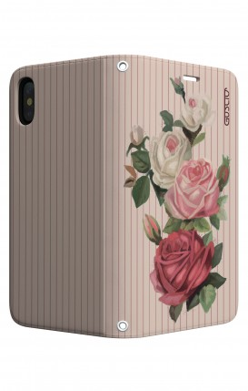 Cover STAND Apple iphone X/XS - Rose e righe