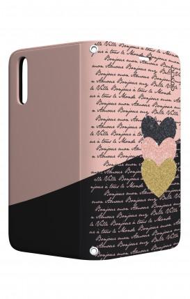 Cover STAND Huawei P20 - Scritte e Cuori rosa nero