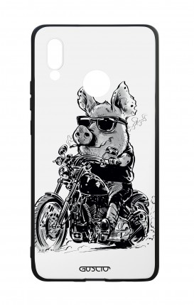 Huawei P20Lite WHT Two-Component Cover - Biker Pig