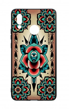 Huawei P20Lite WHT Two-Component Cover - Old School Tattoo Rose
