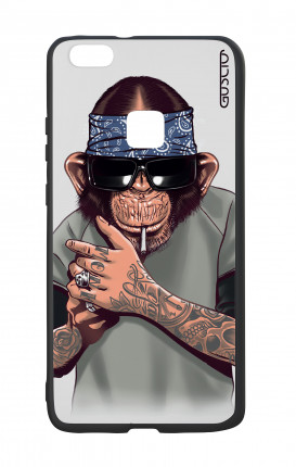 Huawei P9Lite White Two-Component Cover - Chimp with bandana