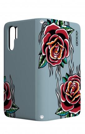 Cover STAND Huawei P30 PRO - Rose Tattoo su azzurro