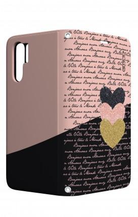 Cover STAND Huawei P30 PRO - Scritte e Cuori rosa nero
