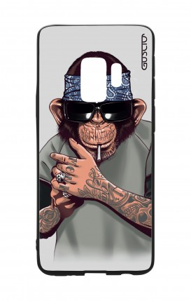 Samsung S9Plus WHT Two-Component Cover - Chimp with bandana