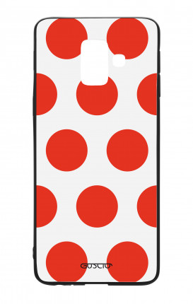 Samsung J6 2018 WHT Two-Component Cover - Red Polka dot