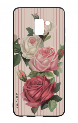 Samsung J6 PLUS 2018 WHT Two-Component Cover - Roses and stripes